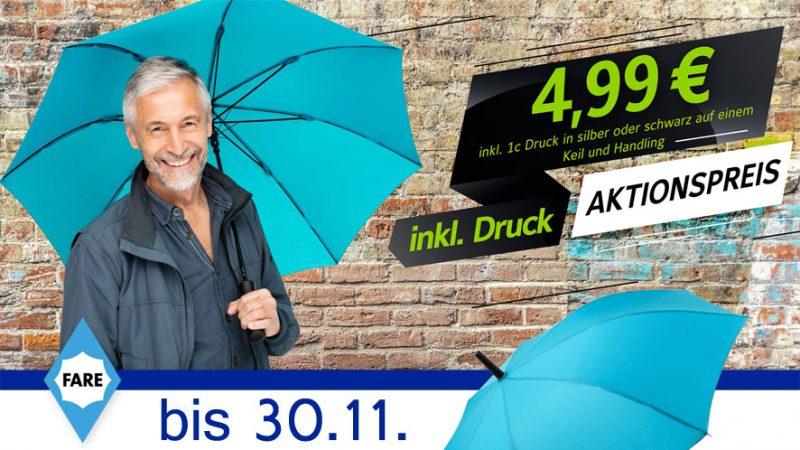 Herbstaktion: Regenschirm mit Logodruck zum Sonderpreis
